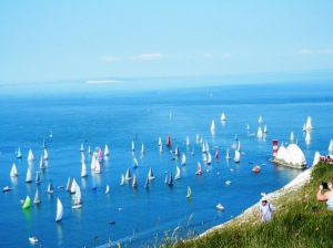 The Round The Island Race (at The Needles). The sea was like a millpond!