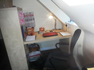 Here's the desk. And chair. Handy.